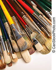 Paintbrush - A bunch of used paintbrushes