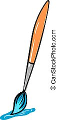 Paintbrush with blue color, illustration, vector on white background.
