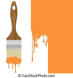 Paintbrush with dripping orange paint isolated over a painted wall