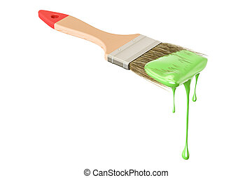 Paintbrush with green paint, 3D rendering