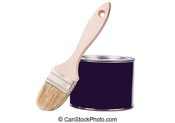 Paintbrush with paint cans