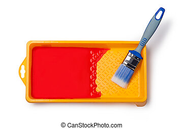 Paintbrush with red paint