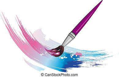 Paintbrush with splashes