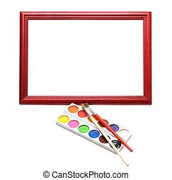 paintbrush, wood frame and paint