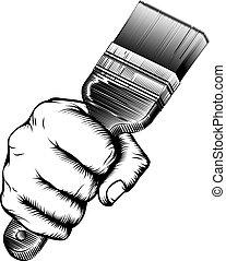Paintbrush Woodcut Fist Hand