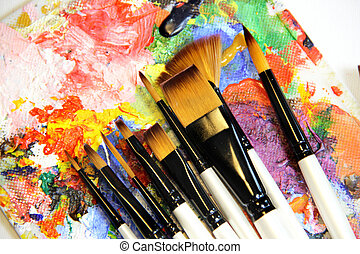 Paintbrushes and art palette - Big set of professional...