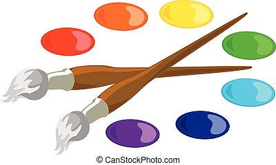 Paintbrushes and basic paint colors