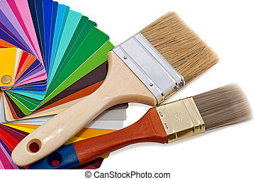 paintbrushes and color samples
