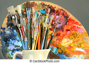 Paintbrushes and Palette