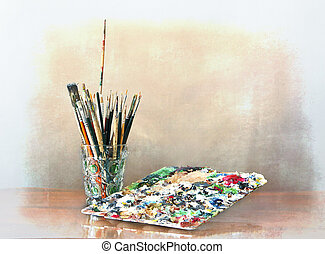 Paintbrushes and palette - Painting tools, brushes, pencils...