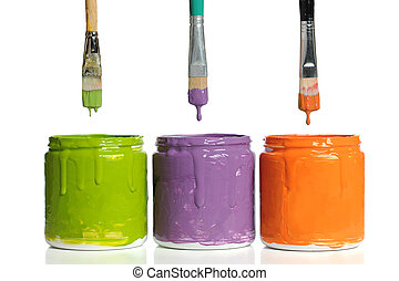 Paintbrushes Dripping Paint into Containers