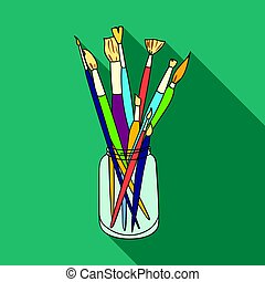 Paintbrushes for painting in the jar icon in flat style isolated on white background. Artist and drawing symbol stock vector illustration.