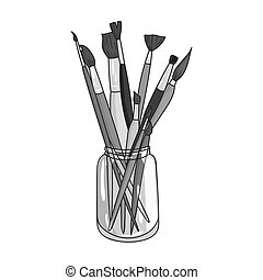 Paintbrushes for painting in the jar icon in monochrome style isolated on white background. Artist and drawing symbol stock vector illustration.