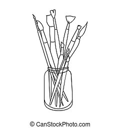 Paintbrushes for painting in the jar icon in outline style...