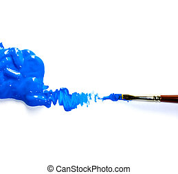 Paintbrushes with Blue