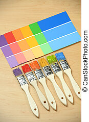 Paintbrushes with Paint Color samples
