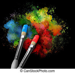 Two paintbrushes are painting a rainbow splattered art project. The brushstrokes are messy on a black isolated background.