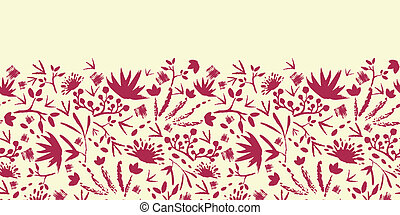 Painted abstract florals horizontal seamless pattern background