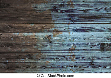 Painted and scratched wooden planks