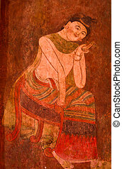 Painted art on the wall which is in Wat Pumin1