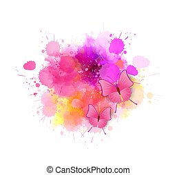 Painted background with butterflies
