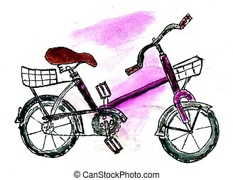 Painted Bicycle - Watercolor painting of a colorful bicycle,...