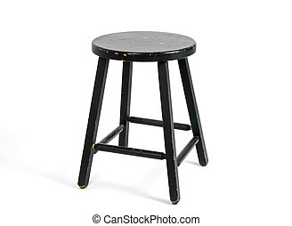 Painted black wooden stool on white background.