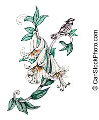Painted bouquet of garden flowers with bird on white background.