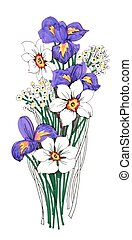Painted bouquet of narcissuses and irises flowers on white background