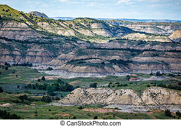 A panoramic view from the Painted Canyon Overlook in the South Unit of Theodore Roosevelt National Park near Medora, North Dakota.
