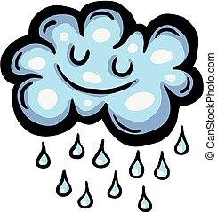 Painted cartoon rain cloud