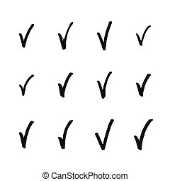 Painted check mark isolated on white background.