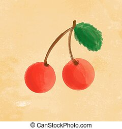 Painted cherry on grunge texture