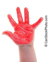 Painted child hand