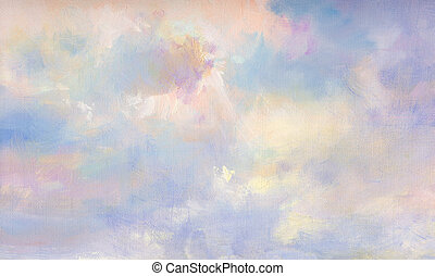 painted clouds on canvas