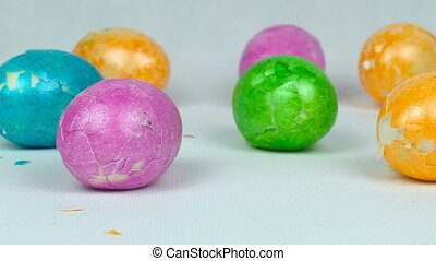 Painted colored eggs after Easter game during Pascha or...