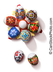 Painted Colorful Easter Eggs on white background with path