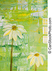 Painted daisy flowers, painting was created by photographer