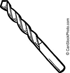 Painted drill bit, vector illustration