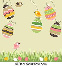 Painted easter eggs and birds on light beige background