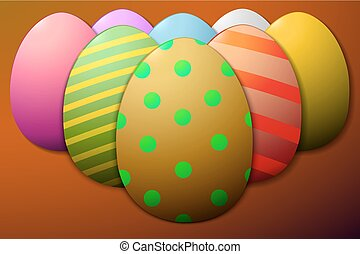 painted Easter eggs brown background