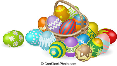 Illustration of colourful painted Easter eggs in a wicker basket