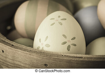 Painted Easter Eggs - Vintage Style - Close up of hand...