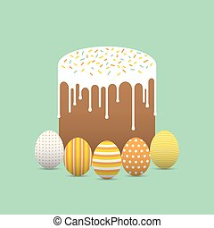 Painted easter eggs with easter cake
