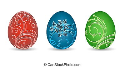 Painted eggs on a white background