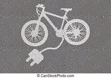 High Angle View Of Painted White Electric Bicycle On Asphalt