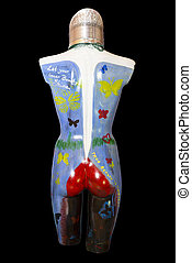 painted female mannequin torso back