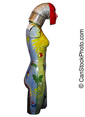 painted female mannequin torso right side