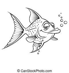 Painted fish - Cartoon fish. Black and white illustration on...