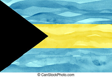 Painted flag of Bahamas